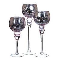 """Настольные подсвечники из стекла """"Серебро с розовым оттенком""""  30 см, 35 см, 40 см. комплект 3 шт."""
