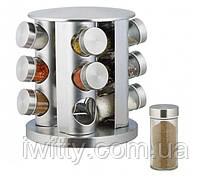 Набор баночек для специй на вращающейся стальной подставке карусель 12 шт Spice Carousel, фото 2