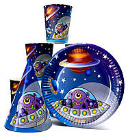 "Набір ""Космос"". Тарілки (18см) -10шт. Стаканчики (250мл) -10шт. Ковпачки (16см) -10шт."