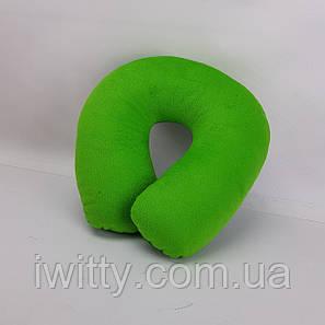 Подушка ортопедична підкова для подорожей Зелена, фото 2