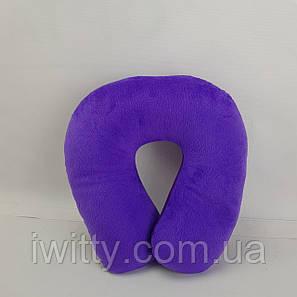 Подушка ортопедическая подкова для путешествий Фиолетовая, фото 2