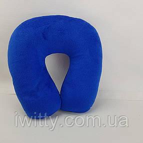 Подушка ортопедическая подкова для путешествий Синяя, фото 2