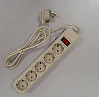 Подовжувач електричний з мережевим фільтром +кнопка 1,5 м 5 гнізд / LMK058, фото 1