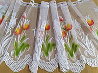 Гардина біла коротка з кольоровим узором висота 60 см /Гардина белая короткая с цветным узором, фото 1
