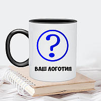 Чашка белая с цветной серединкой и ручкой 330мл с Вашим логотипом  / Кружка с лого