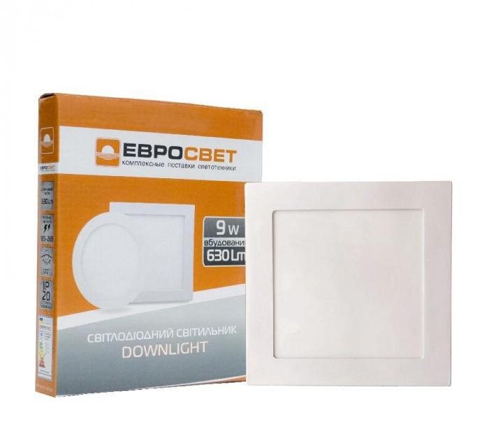 Светильник светодиодный встраиваемый ЕВРОСВЕТ LED-S-150-9 9Вт 4200К 150х150мм (000039179)