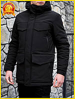 Мужская длинная зимняя куртка на флисе с капюшоном, черная