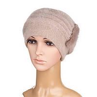 Вязаная женская шапка Anna ангора  цвет капучино, фото 1