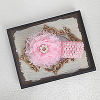 Нарядная повязка на голову девочке розовая, фото 1