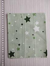 Отрез сатина светло-зеленый со звездочками. Размер отреза 40*50 см.
