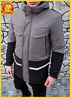 Мужская длинная зимняя куртка на флисе с капюшоном, серый