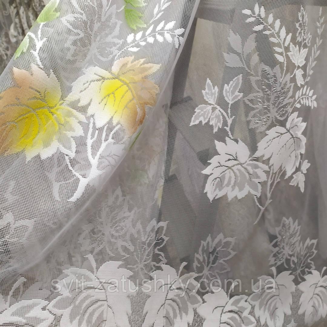 Гардина коротка біла з кольоровим узором висотою1.65м./Гардина короткая белая с цветным узором высотой 1.65 м