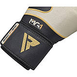 Боксерские перчатки RDX Leather Black White 12 ун., фото 2