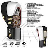 Боксерские перчатки RDX Leather Black White 12 ун., фото 4
