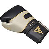 Боксерские перчатки RDX Leather Black White 12 ун., фото 6