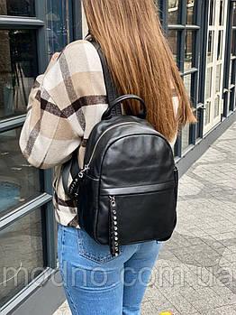 Женский кожаный городской вместительный рюкзак на одно отделение черный
