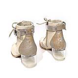 Ботильйони з відкритою шнурівкою, каблук 6 см, колір молочний, фото 5