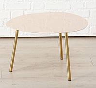 Журнальный столик Вилла золотой металл светло-розовый верх h36см w50см Гранд Презент 1017730-2М