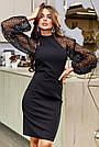 Чорне святкове плаття облягаюче з пишними рукавами, фото 2