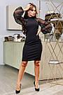 Чорне святкове плаття облягаюче з пишними рукавами, фото 4