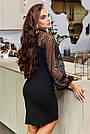 Чорне святкове плаття облягаюче з пишними рукавами, фото 6