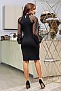 Чорне святкове плаття облягаюче з пишними рукавами, фото 7