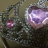 Корона диадема принцессы серебристая со стразами, фото 2
