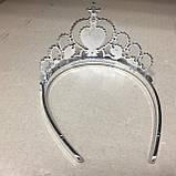 Корона диадема принцессы серебристая со стразами, фото 4