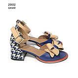 Босоножки с маленьким объемным бантиком, каблук 4см, цвет синий, фото 2