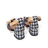 Босоножки с маленьким объемным бантиком, каблук 4см, цвет синий, фото 4