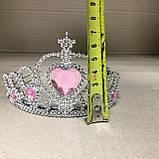 Корона диадема принцессы серебристая со стразами, фото 6