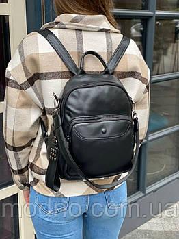 Женский кожаный городской вместительный рюкзак с ремешком на плечо чёрный