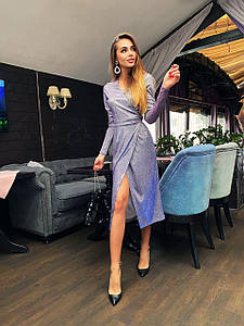 Элегантное блестящее платье на запах с разрезом 42-44 р