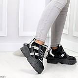 Крутые модельные молодежные женские черные зимние кроссовки сникерсы, фото 2