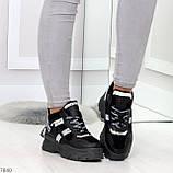 Крутые модельные молодежные женские черные зимние кроссовки сникерсы, фото 3