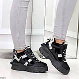 Крутые модельные молодежные женские черные зимние кроссовки сникерсы, фото 4
