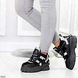 Крутые модельные молодежные женские черные зимние кроссовки сникерсы, фото 5