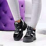 Крутые модельные молодежные женские черные зимние кроссовки сникерсы, фото 6