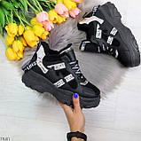 Крутые модельные молодежные женские черные зимние кроссовки сникерсы, фото 8
