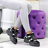 Крутые модельные молодежные женские черные зимние кроссовки сникерсы, фото 10