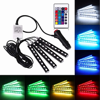 Цветная подсветка для авто водонепроницаемая RGB led Подсветка ковриков в авто