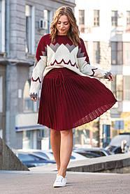 Тёплая женская мини юбка плиссе, размер оверсайз  42-50