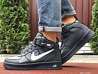 Чоловічі шкіряні зимові кросівки Nike Air Force темно сині з білим, фото 1