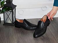 Мужские кожаные черные туфли