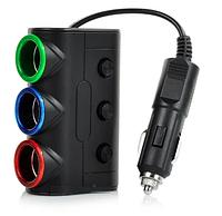 Разветвитель в авто на 5 одновременных подключения по прикуривателю и USB Черный