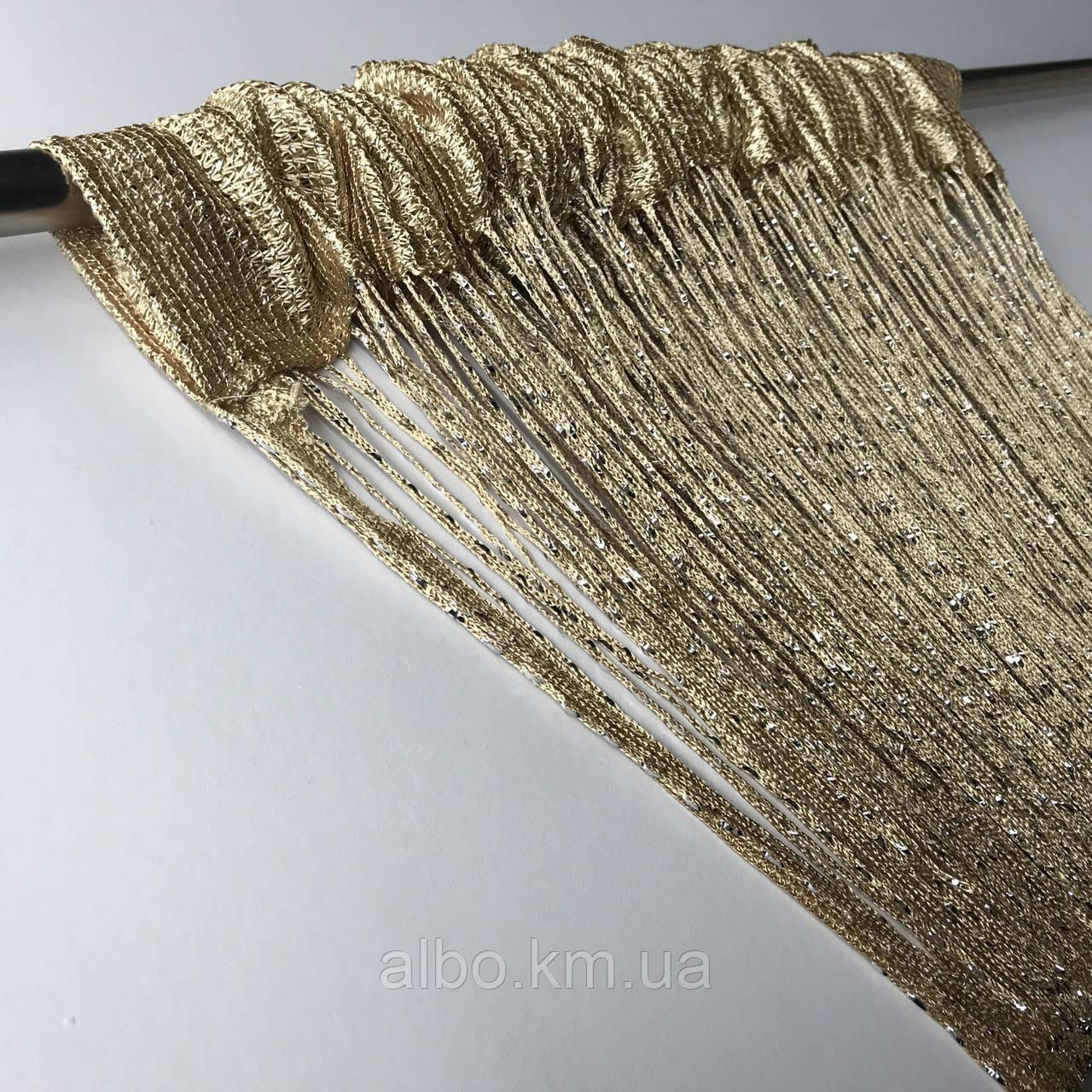 Штори-нитки з люрексом Серпанок 3 х 2.8 м, колір веселка - білий,сірий,чорний (для спальні, вітальні, кухні)