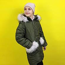 26879 Куртка зимняя для девочки хаки с мехом тм MiChell размер 140 см