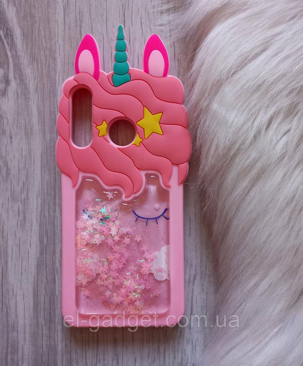 Чехол на Huawei P30 Lite Единорог розовый с блестками