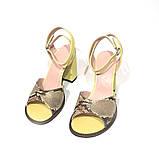Кожаные босоножки на устойчивом каблуке, цвет желтый/питон, фото 3