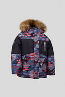 Куртка детская Зима на 1-4 года красная рябь